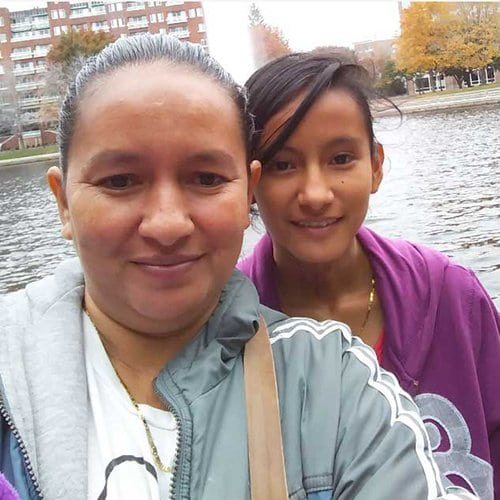 joseline with her mother on the bank of a river